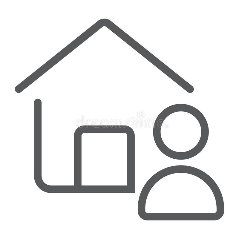 Fastighetsmäklarelinje symbol, fastighet och hem royaltyfri illustrationer