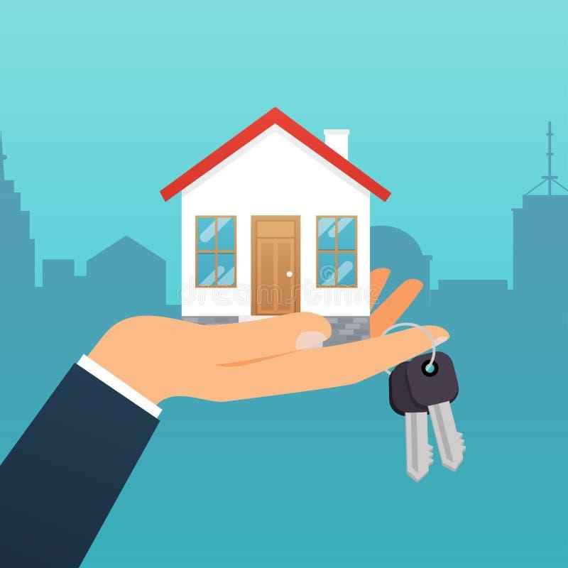 Fastighetsmäklaren rymmer tangenten från hemmet Erbjudande av köpet vektor illustrationer