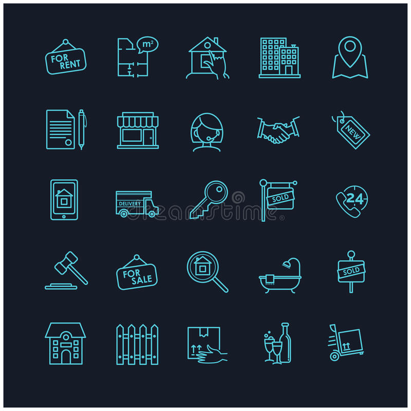 Fastighetsymboler på en svart bakgrund vektor illustrationer