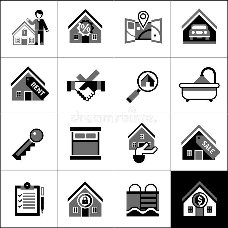 Fastighetsymbolssvart stock illustrationer