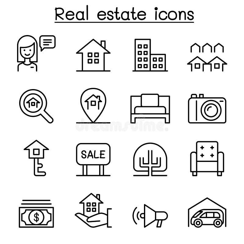 Fastighetsymbolsuppsättning i den tunna linjen stil stock illustrationer