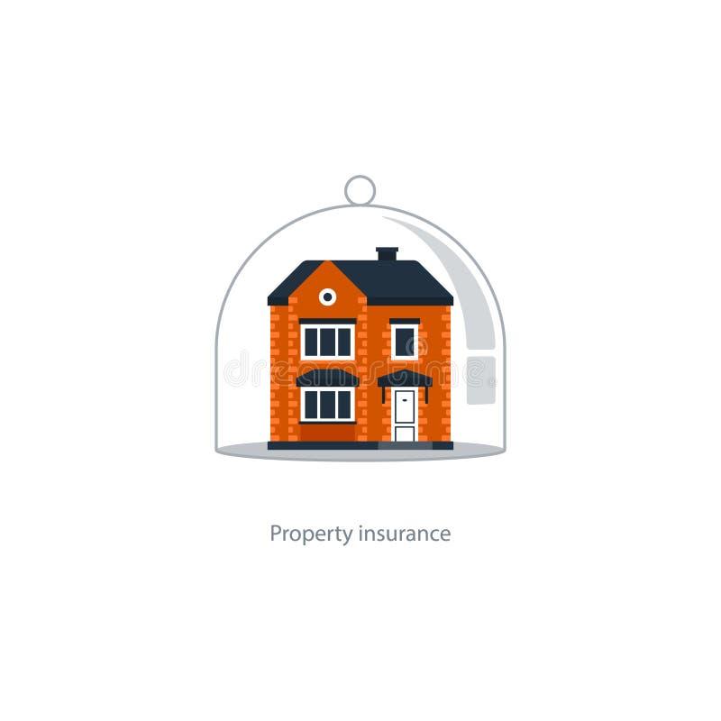 Fastighettäckningssymbol, skyddssystem, säkerhet, husförsäkring stock illustrationer