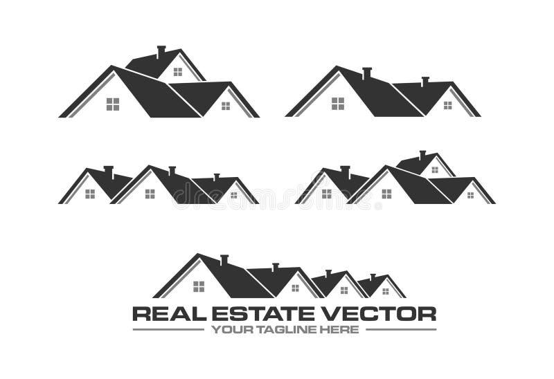 Fastighetvektor Takvektor brand godset det fria logomeddelandet verkligt ditt sloganavstånd Taklägga logo Hus utgångspunkt vektor illustrationer