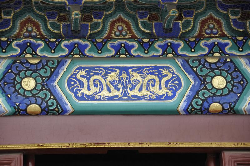 Beijing, 7th may: Fasting Palace decoration from Temple of Heaven site in Beijing stock image