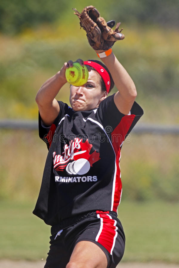 Fastpitch midget girls winnipeg shotton pitch. SAINT JOHN, CANADA - AUGUST 2: Sarah Shotton of the Winnipeg Smitty's Terminators whips a pitch at the 2010 stock images
