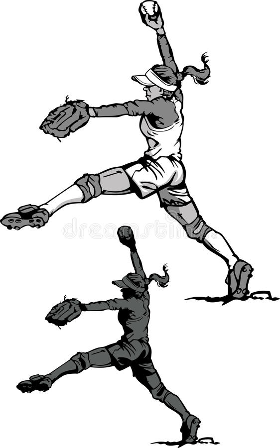 Fastpitch Softball Girl Silhouette royalty free illustration