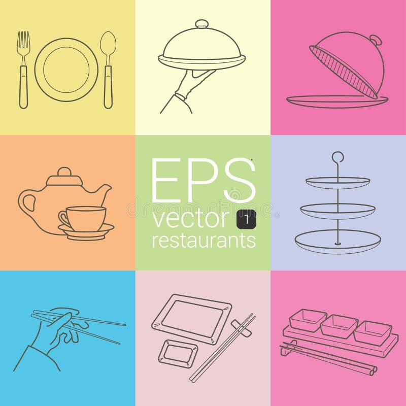 Fastställd översikt som är planimetric, kontur, planimetric linje av symboler på temat av restaurangerna, matleverantörer som skö royaltyfri illustrationer