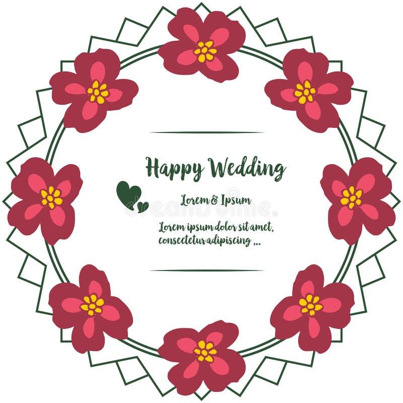 Fastställd abstrakt modellblommaram, design av lyckligt bröllop för kort vektor vektor illustrationer