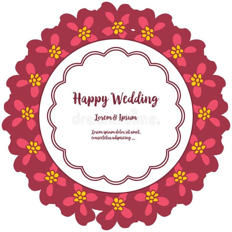 Fastställd abstrakt modellblommaram, design av lyckligt bröllop för kort vektor stock illustrationer