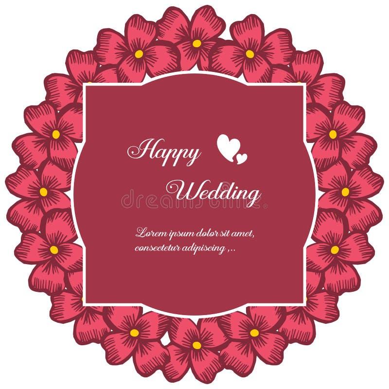 Fastställd abstrakt modellblommaram, design av lyckligt bröllop för kort vektor royaltyfri illustrationer