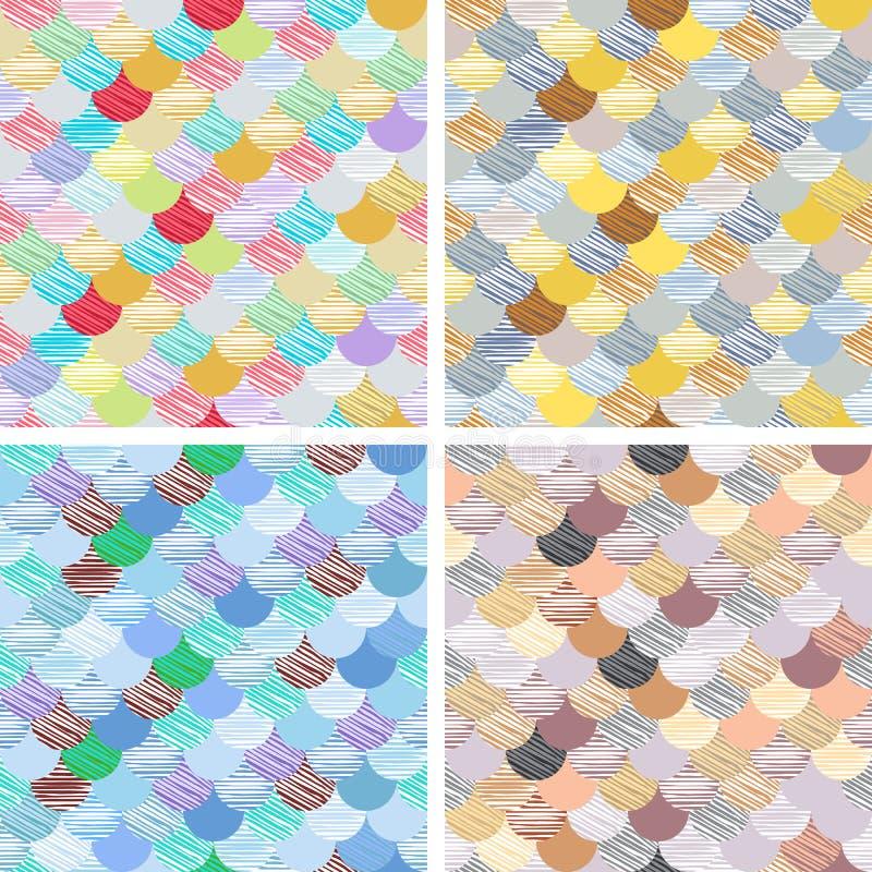 Fastställd abstrakt sömlös modelluppsättning Japansk stil, fiskskala Guld-, blåa, vitfärger och färgstänk Vektorbakgrunder för fa royaltyfri illustrationer