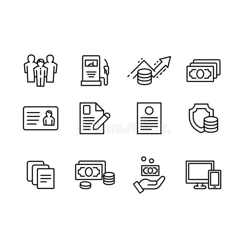 Fastställd affär och finans för översiktsvektorsymbol, handelsutbyte, pengarhuvudstad, finansiell ledning och försäkring grupper vektor illustrationer