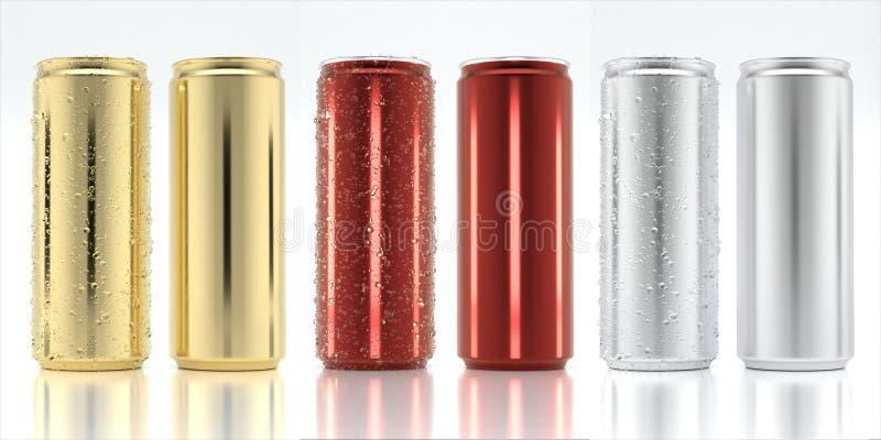 Fastställd aluminiumburk för modell royaltyfria bilder
