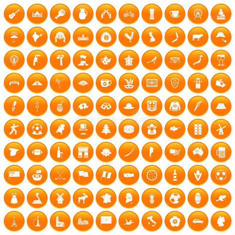 fastställd apelsin för 100 översiktssymboler royaltyfri illustrationer