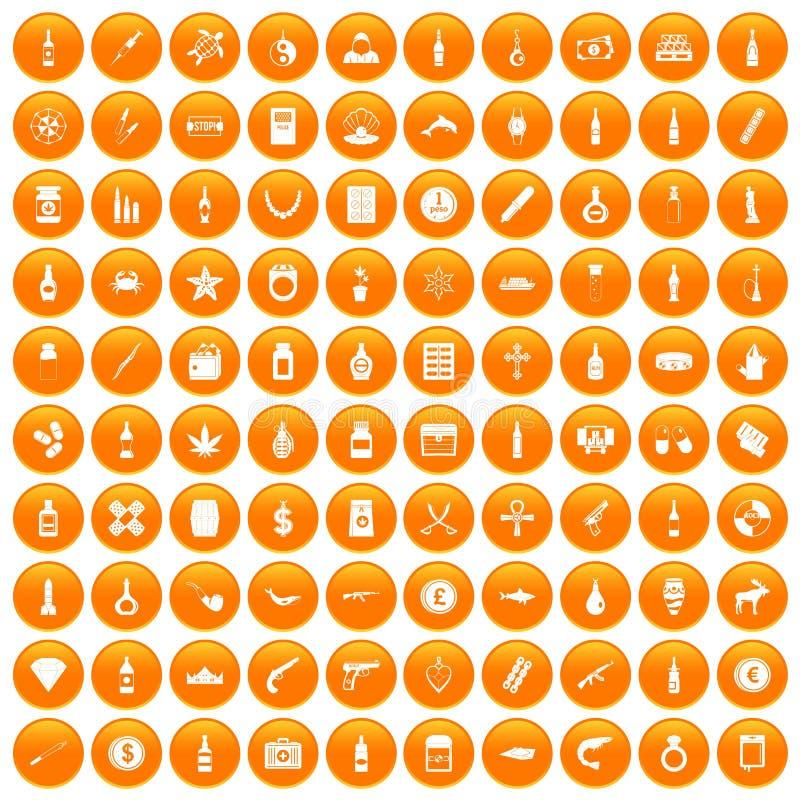 fastställd apelsin för 100 smuggla godssymboler stock illustrationer