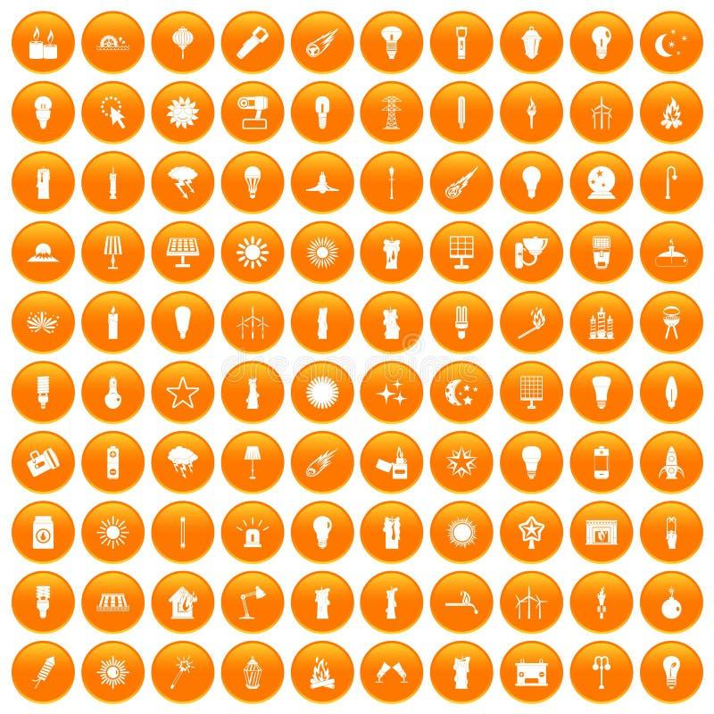 fastställd apelsin för 100 symboler för ljus källa stock illustrationer