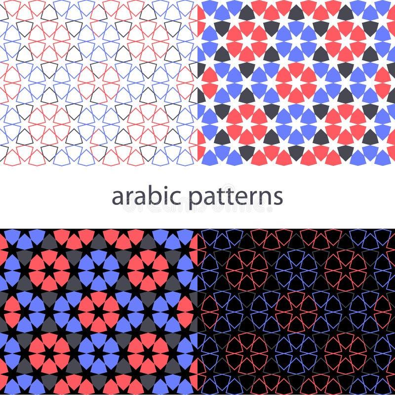 Fastställd arabisk bakgrund för vektor med den sömlösa modellen i geometriskt färgrikt för islamisk stil, tapetdesign vektor illustrationer