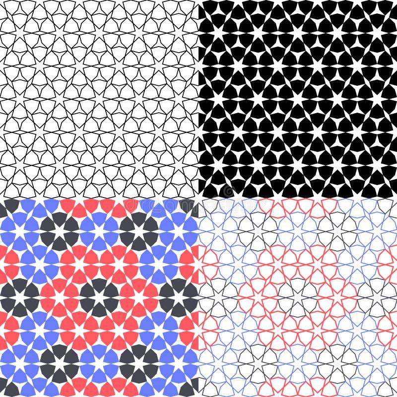 Fastställd arabisk bakgrund för vektor med den sömlösa modellen i islamisk stil vektor illustrationer