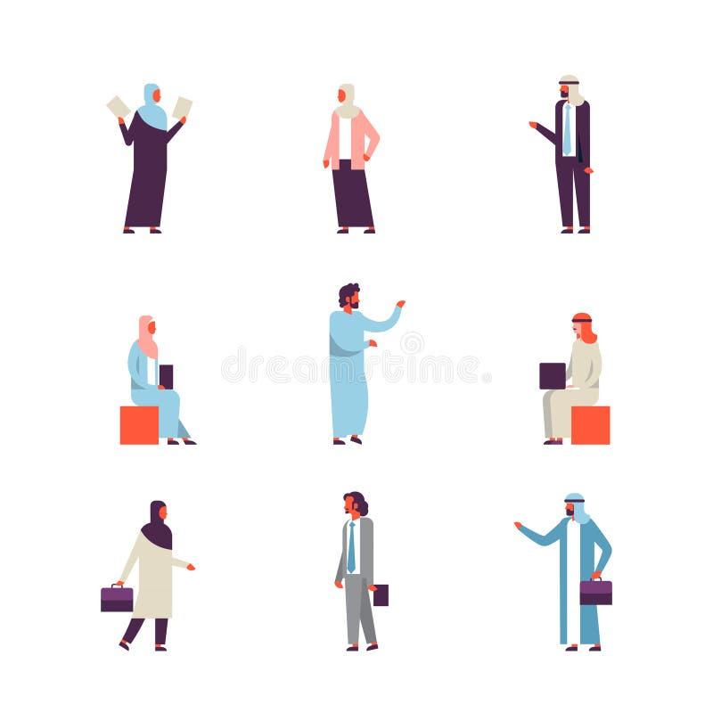 Fastställd arabisk samling för kontur för tecken för tecknad film för kvinna för man för begrepp för gester för kläder för affärs stock illustrationer