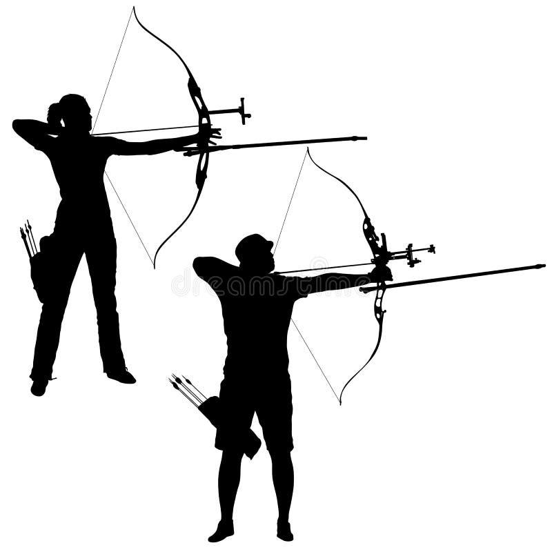 Fastställd attraktiv man för kontur och kvinnligbågskytt som böjer en pilbåge och siktar i målet vektor illustrationer