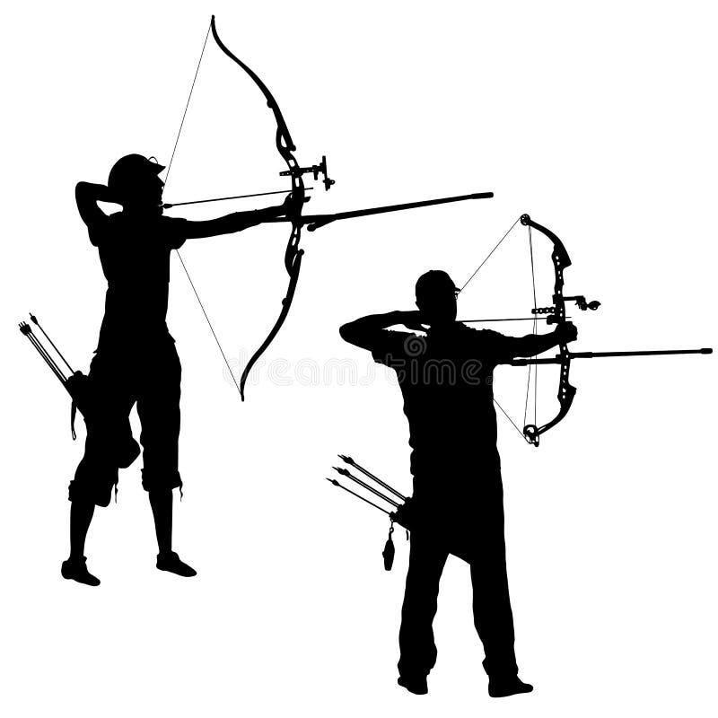 Fastställd attraktiv man för kontur och kvinnligbågskytt som böjer en pilbåge och siktar i målet stock illustrationer