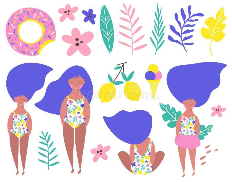 Fastställd avslappnande flicka på stranden vektor royaltyfri illustrationer