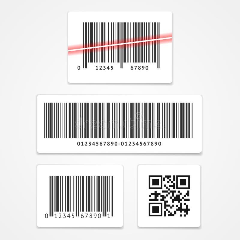 Fastställd barcode för vektor stock illustrationer
