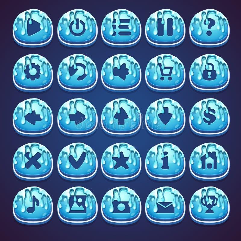 Fastställd blått knäppas för rengöringsdukvideospel i stilmarmelad vektor illustrationer