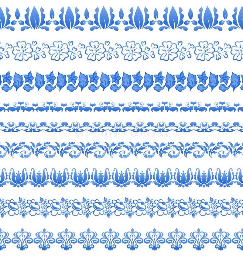Fastställd blom- utsmyckad tracerymodell i gzhelstil för din design vektor illustrationer