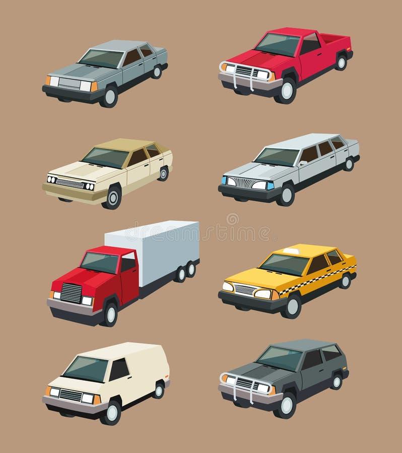 Fastställd design för auto lastbilgaragebil royaltyfri illustrationer