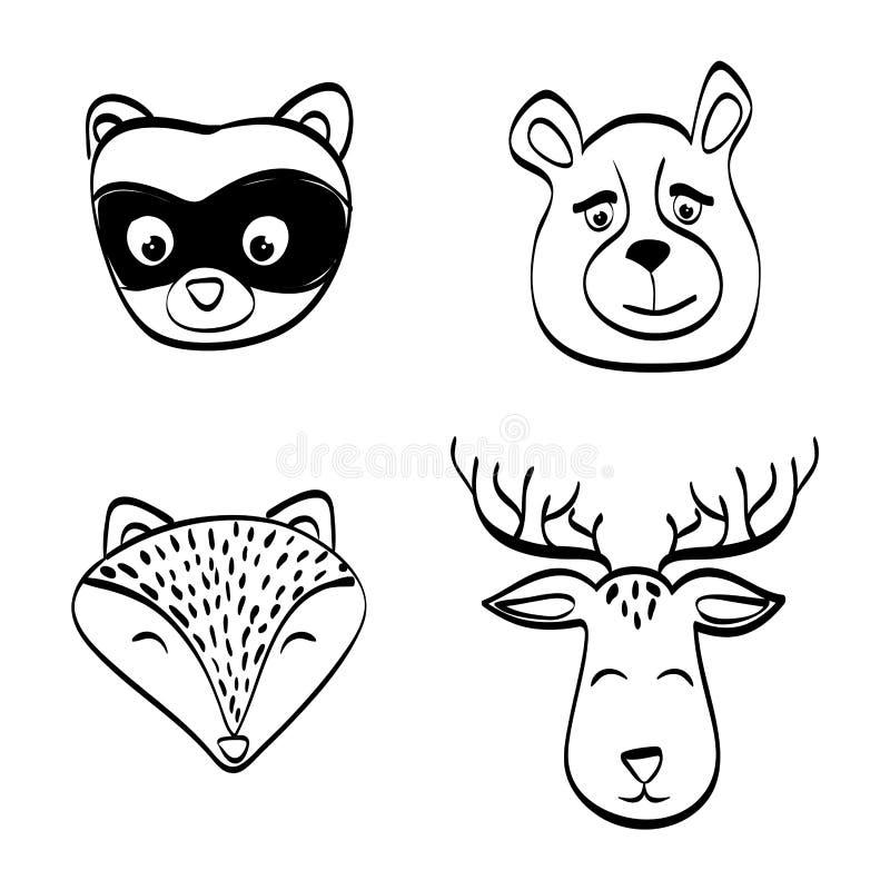Fastställd design för djur symbol, vektorillustration stock illustrationer