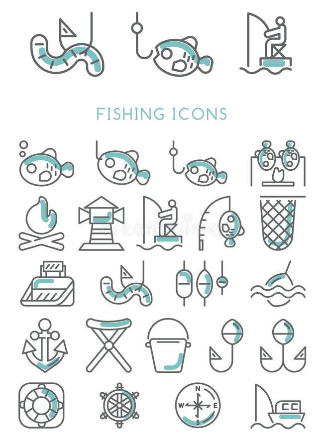 Fastställd design för fiskesymboler royaltyfri illustrationer
