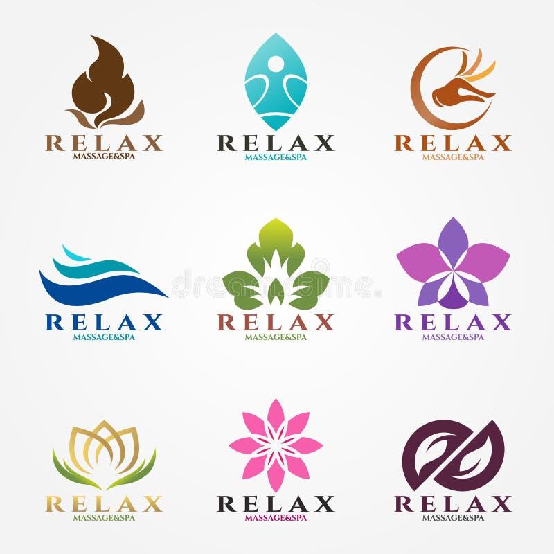 Fastställd design för logovektor för massage och brunnsortaffär vektor illustrationer