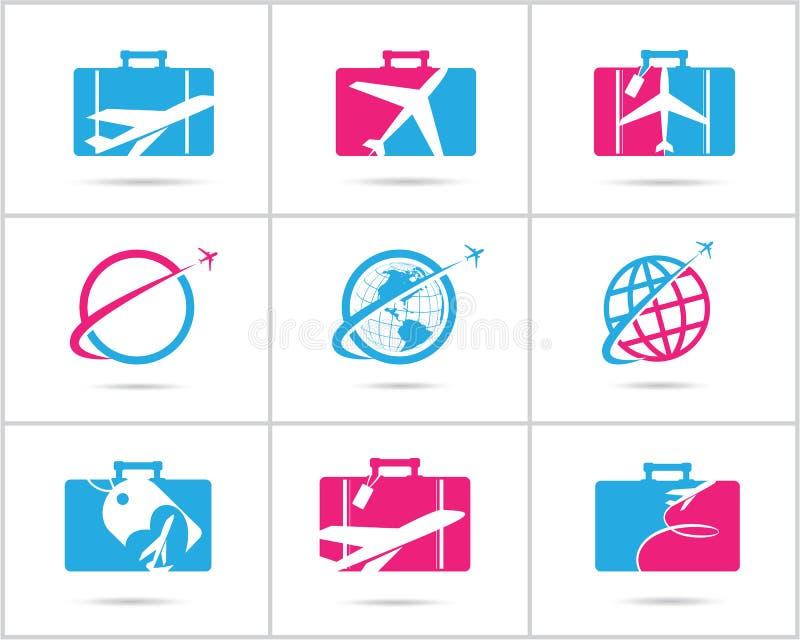 Fastställd design för lopplogoer Symboler för vektor för biljettbyrå och turism, flygplan i påse och jordklot Bagagepåselogoen, v royaltyfria bilder