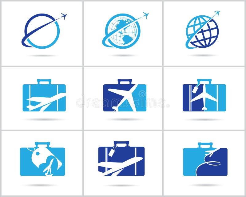 Fastställd design för lopplogoer Symboler för vektor för biljettbyrå och turism, flygplan i påse och jordklot Bagagepåselogoen, v arkivfoto
