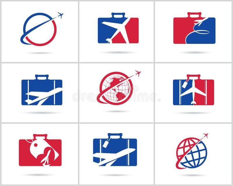 Fastställd design för lopplogoer Symboler för vektor för biljettbyrå och turism, flygplan i påse och jordklot Bagagepåselogoen, v royaltyfri foto