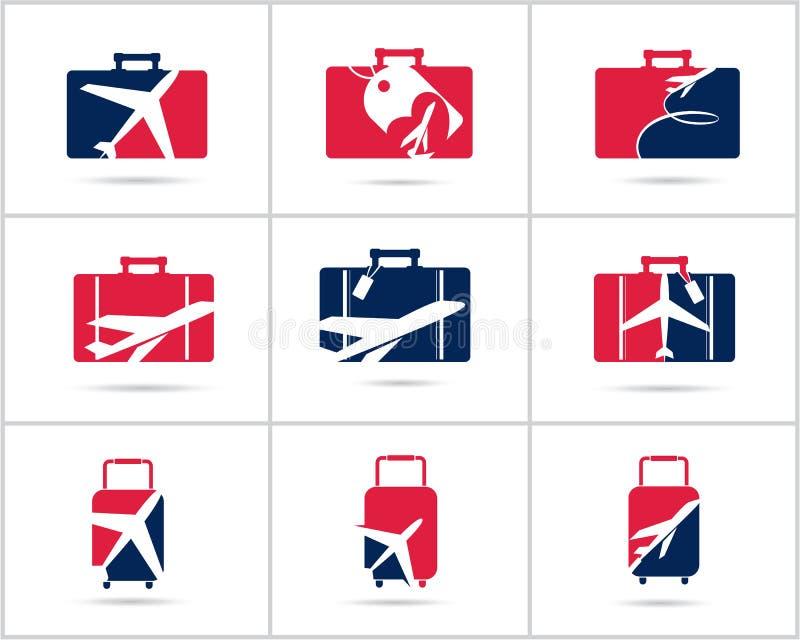 Fastställd design för lopplogoer Symboler för vektor för biljettbyrå och turism, flygplan i påse och jordklot Bagagepåselogoen, v royaltyfri illustrationer