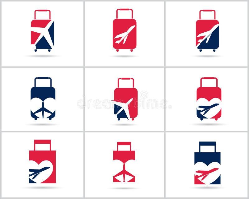 Fastställd design för lopplogoer Symboler för vektor för biljettbyrå och turism, flygplan i påse och jordklot Bagagepåselogoen, v vektor illustrationer