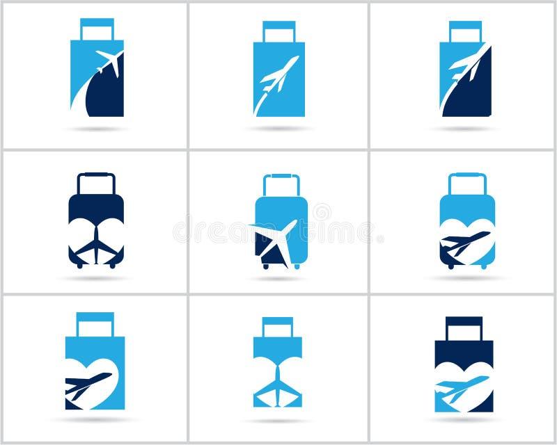 Fastställd design för lopplogoer Symboler för vektor för biljettbyrå och turism, flygplan i påse och jordklot Bagagepåselogoen, v arkivbilder