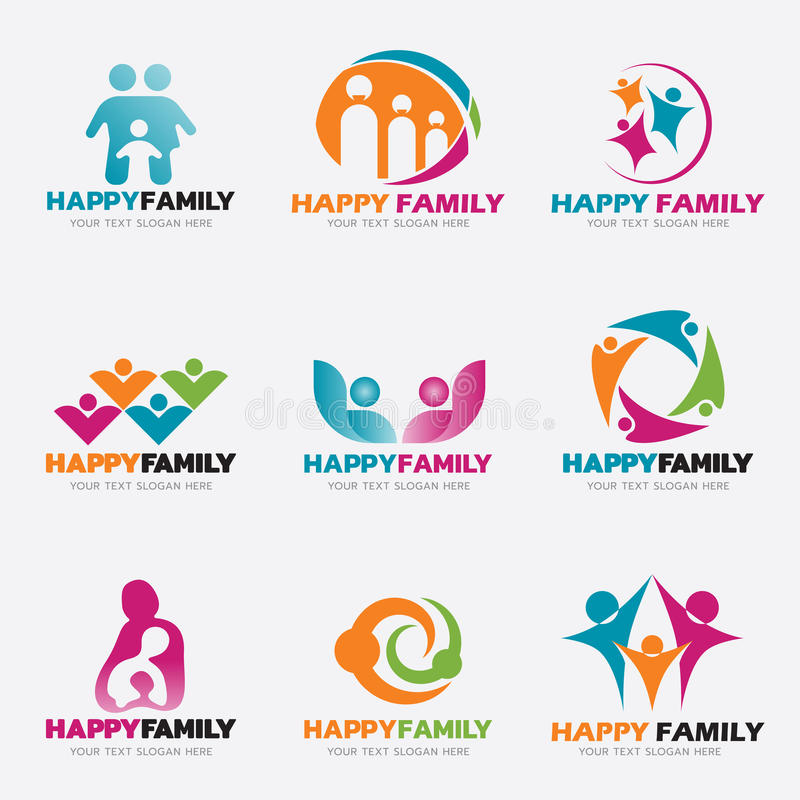 Fastställd design för lycklig illustration för familjlogovektor royaltyfri illustrationer