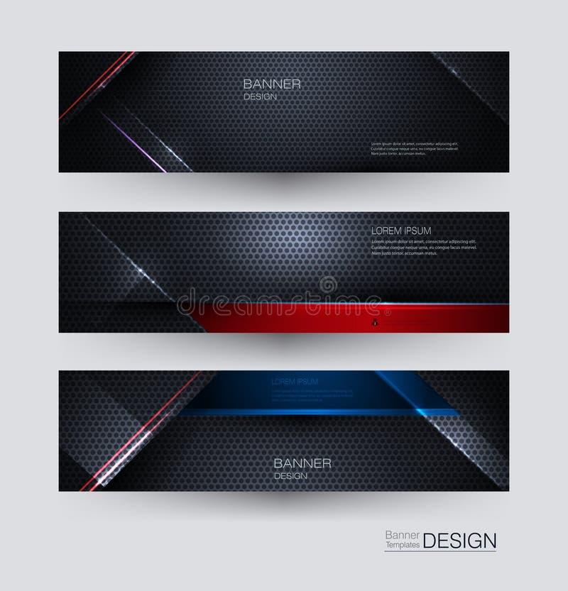 Fastställd design för metallrambaner för bakgrund Blått för illustration abstrakt, rött svart metalliskt med den ljusa strålen oc vektor illustrationer