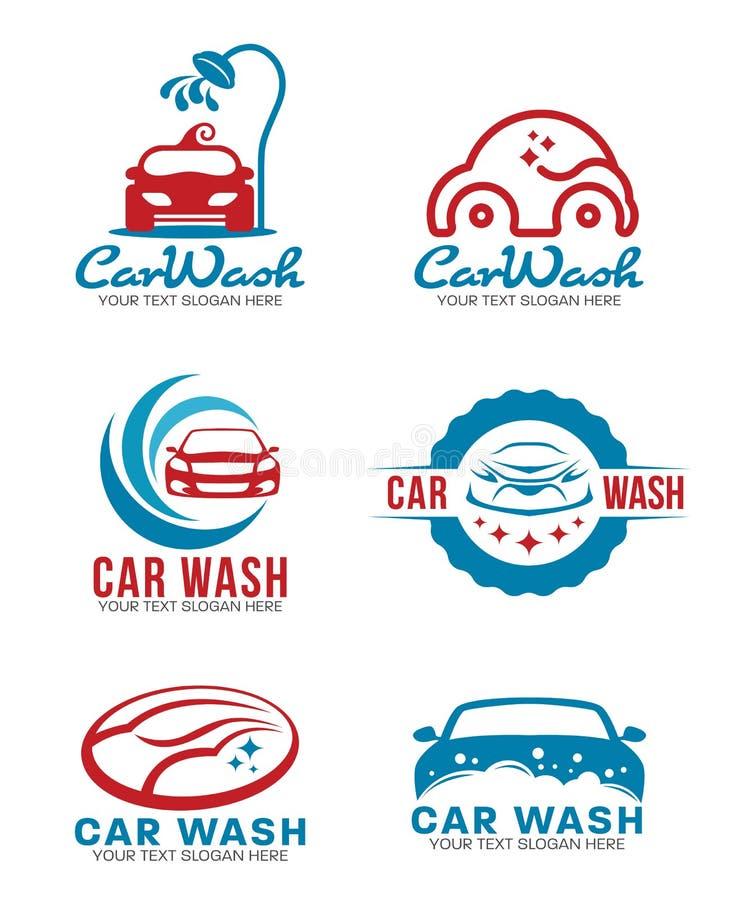 Fastställd design för röd och blå vektor för biltvättservicelogo royaltyfri illustrationer