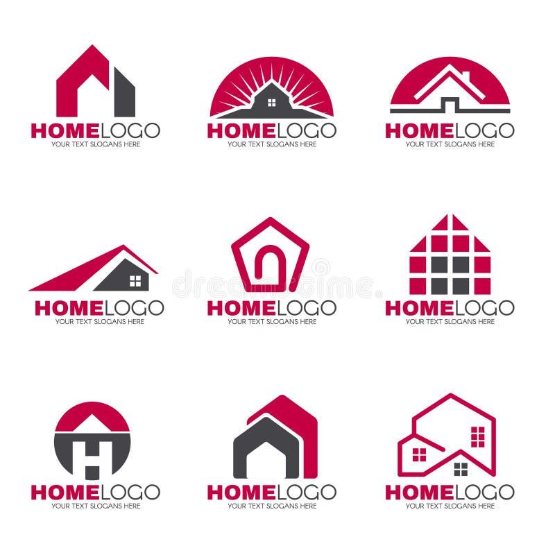 Fastställd design för röd och grå hem- logo stock illustrationer