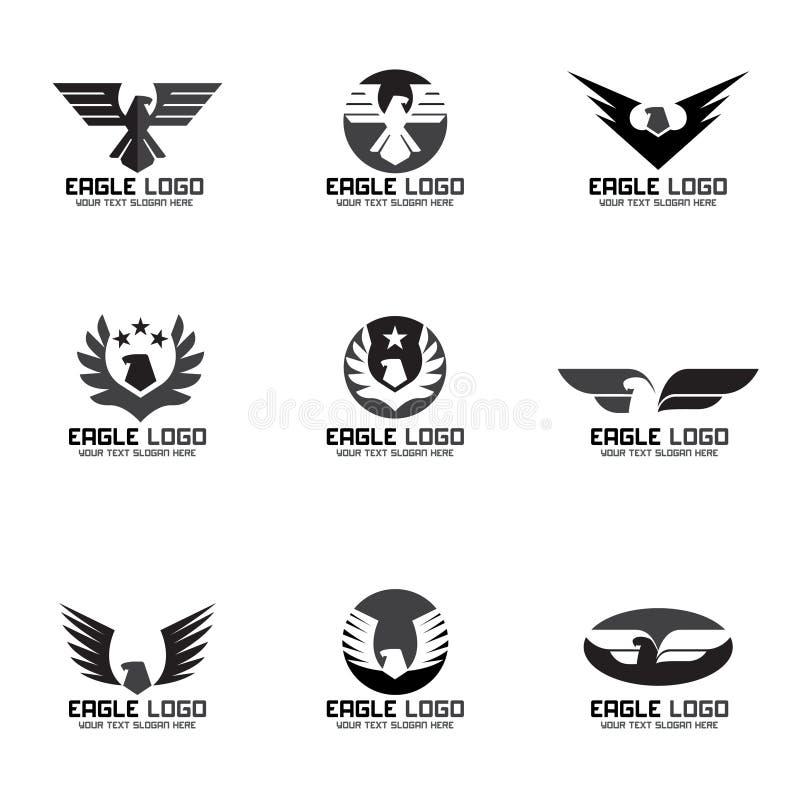 Fastställd design för svart grå Eagle vektorlogo royaltyfri illustrationer