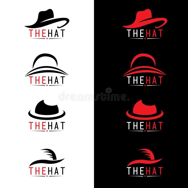 Fastställd design för svart och röd hattlogovektor royaltyfri illustrationer