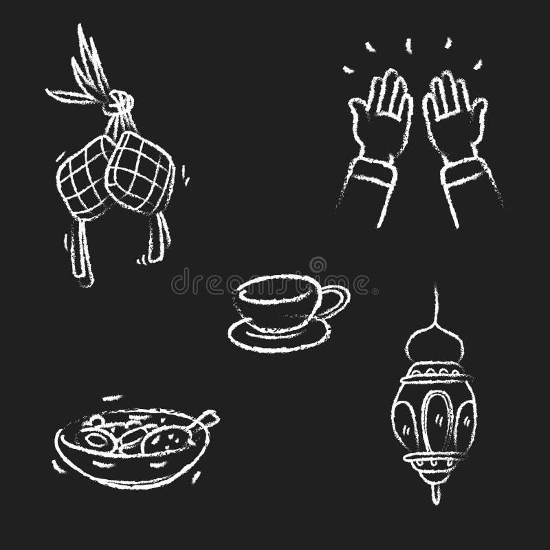 Fastställd eid mubarak för klotter royaltyfri illustrationer