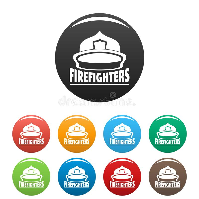 Fastställd färg för brandmanhjälmsymboler vektor illustrationer