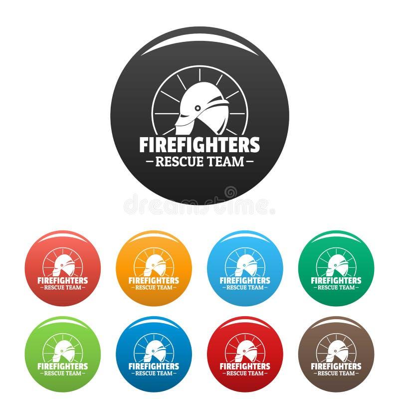 Fastställd färg för brandmanräddningsmanskapsymboler stock illustrationer