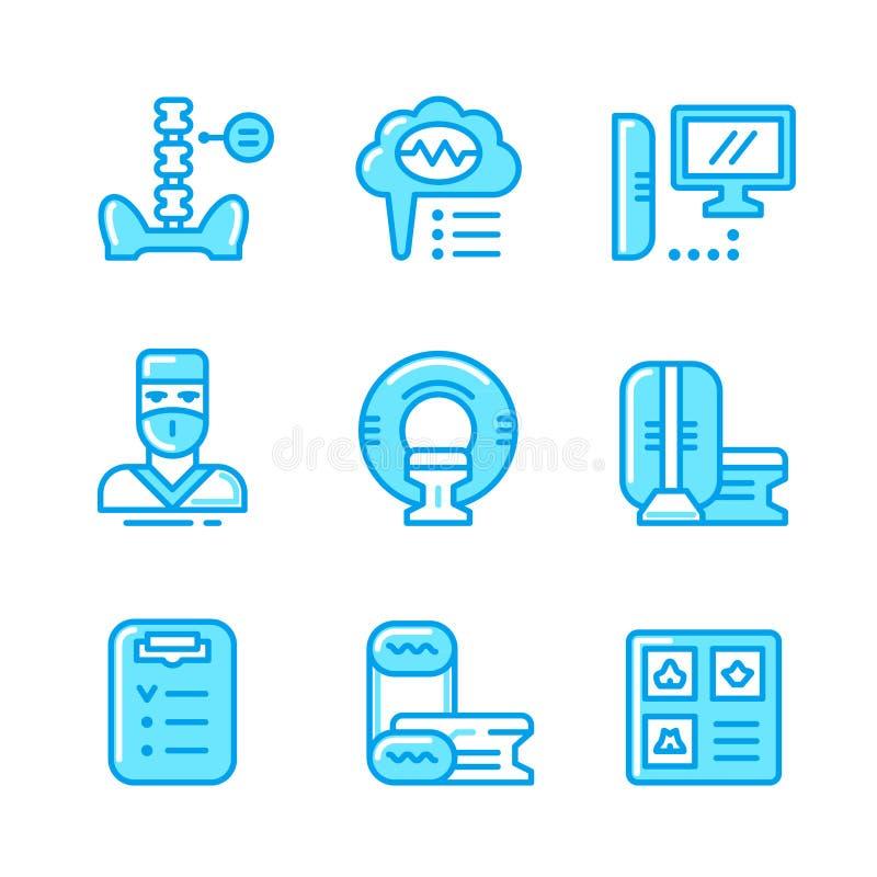 Fastställd färglinje symboler av kopiering för magnetisk resonans royaltyfri illustrationer