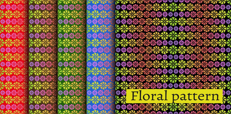 Fastställd färgrik modell - abstrakt begreppblommor vektor illustrationer